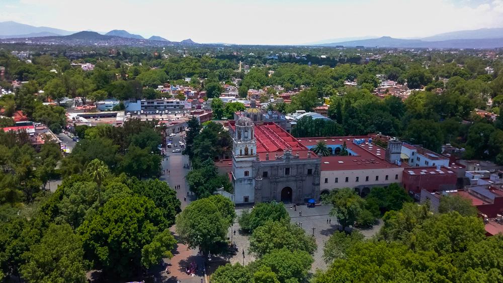 Aerial view of Coyoacan neighbourhood, Mexico City, Mexico