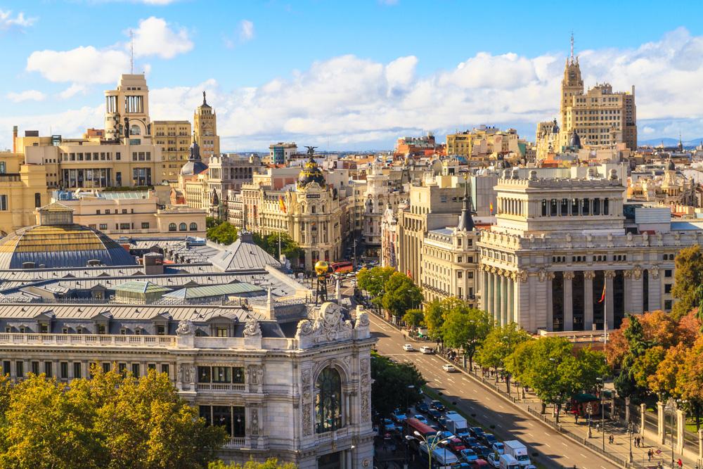 Aerial view of Gran Via shopping street in Madrid, Spain