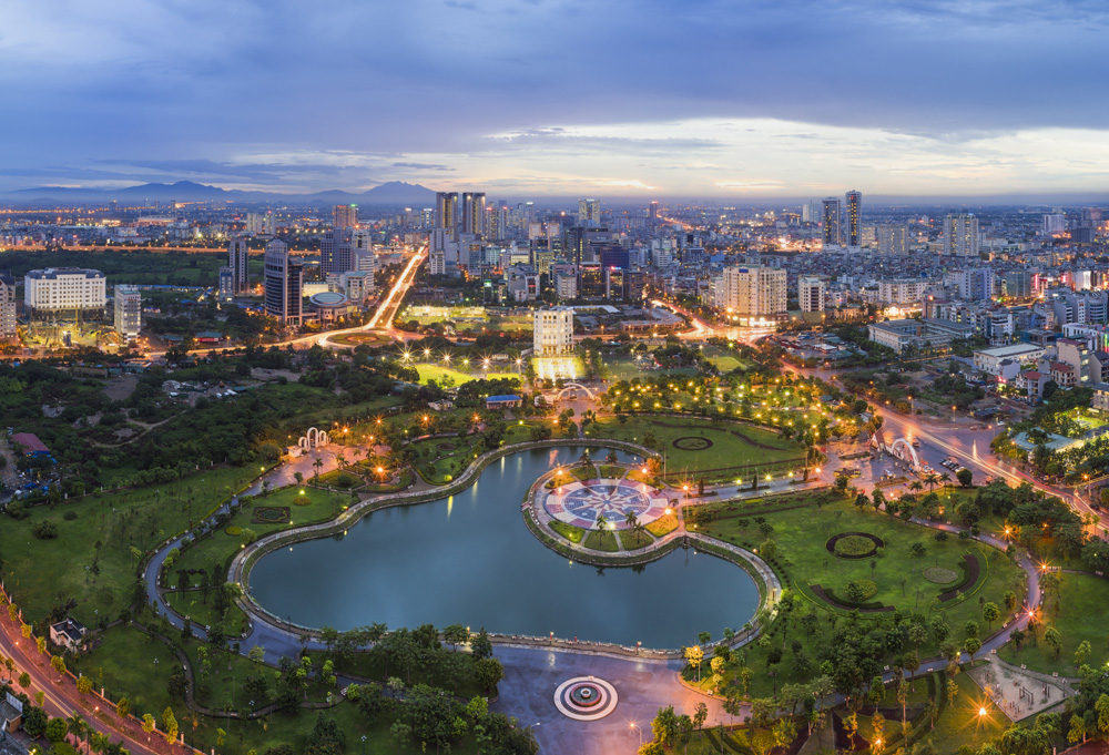 Aerial view of Hanoi skyline cityscape at twilight, Vietnam