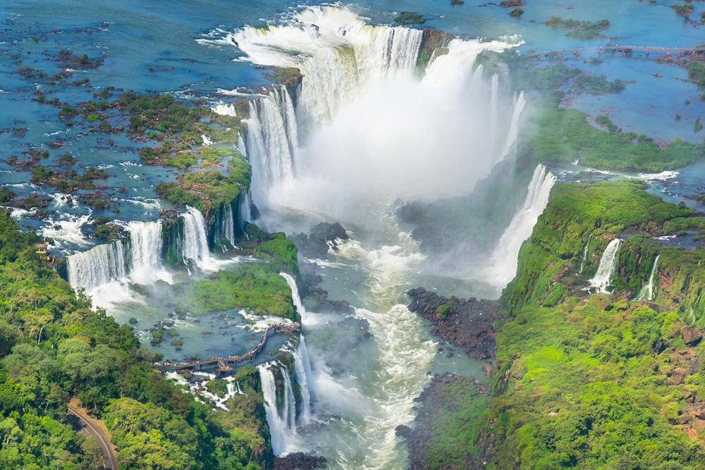 Aerial view of Iguassu Falls, Argentina Brazil
