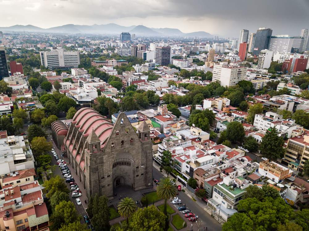 Aerial view of Polanco neighbourhood, Mexico City, Mexico