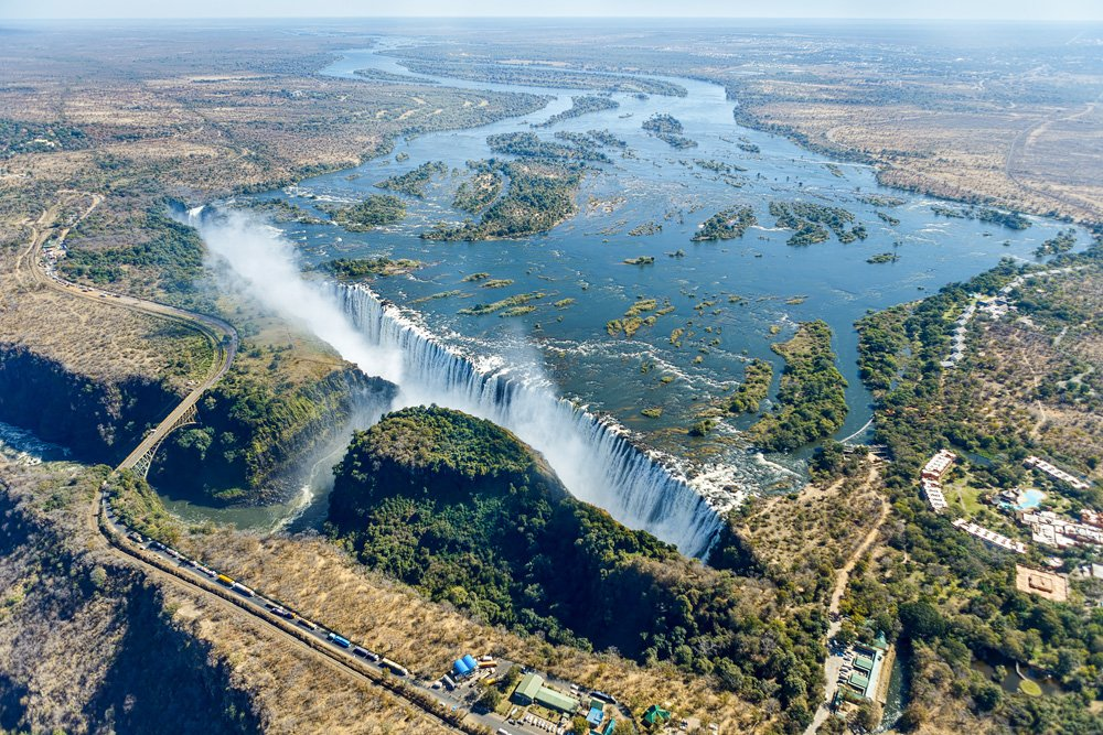 Aerial view of Victoria Falls in Zambia and Zimbabwe