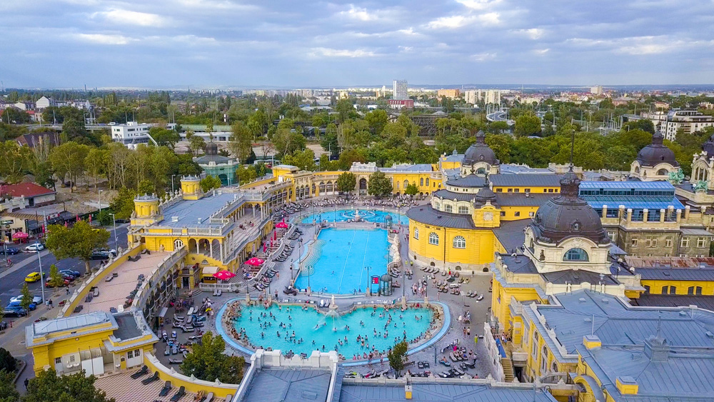 Aerial view of swimming pool at Gellert Spa and Bath in Budapest, Hungary