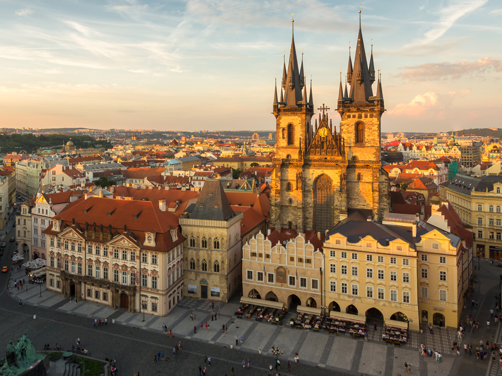 Aerial view over Church of Our Lady Before Tyn at Old Town Square, Prague, Czech Republic