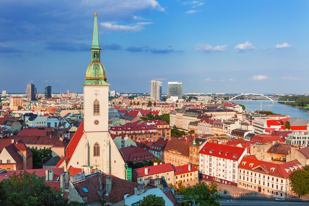 Bratislava's Old Town with St. Martin's Cathedral and Danube River, Bratislava, Slovakia