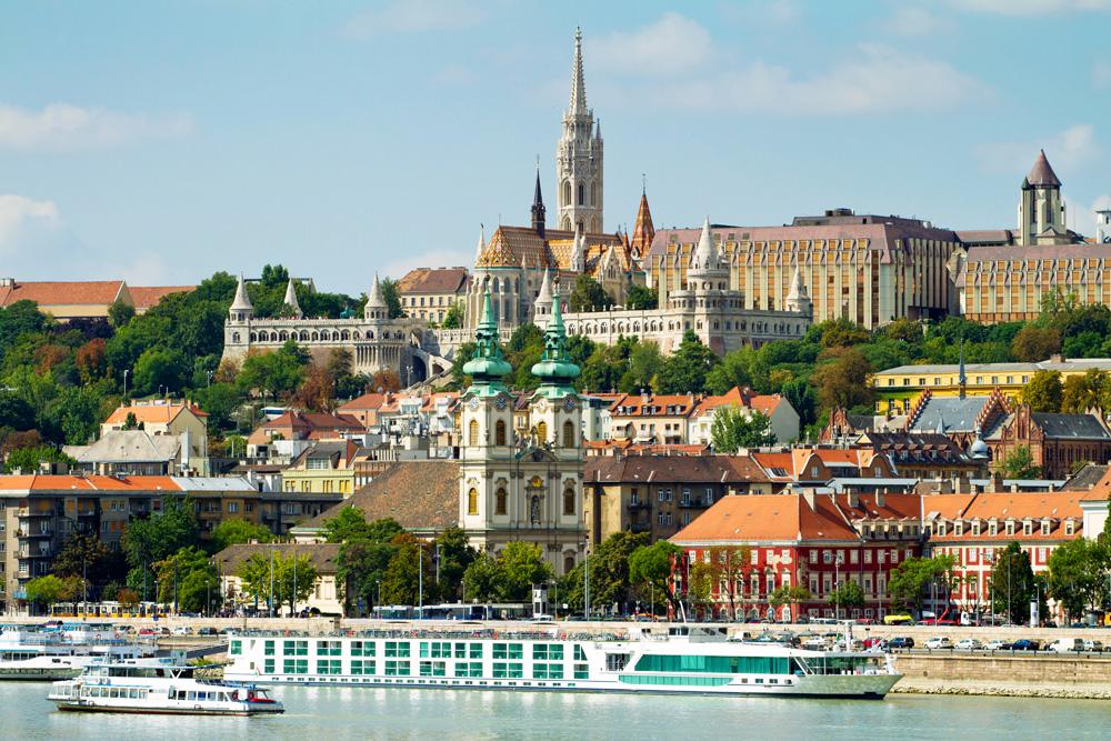 Buda Castle, St. Matthias and Fishermen's Bastion on Buda side of Budapest, Hungary