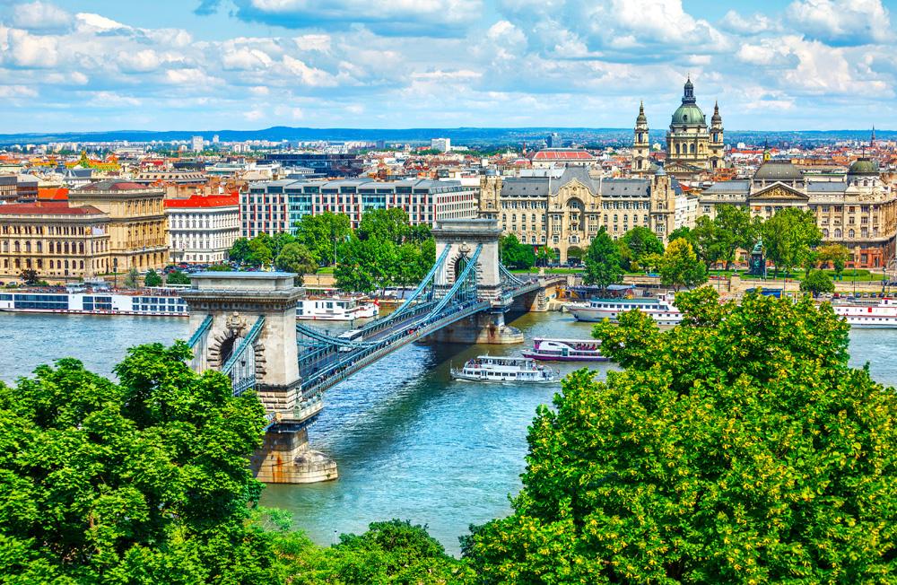 Chain Bridge above Danube River in Budapest. Hungary