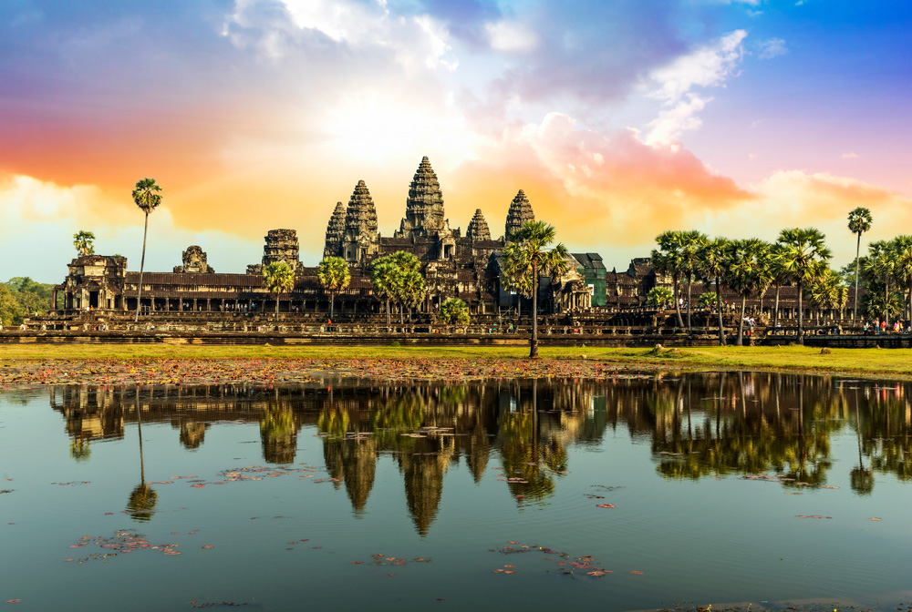 Colourful sunrise in Angkor Wat, Siem Reap, Cambodia
