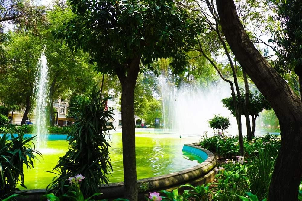 Fountains in La Condesa in Mexico City, Mexico
