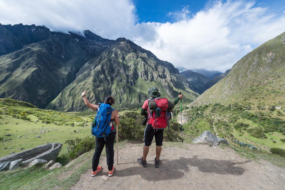 Hiking along the Inca Trail in Machu Picchu, Peru