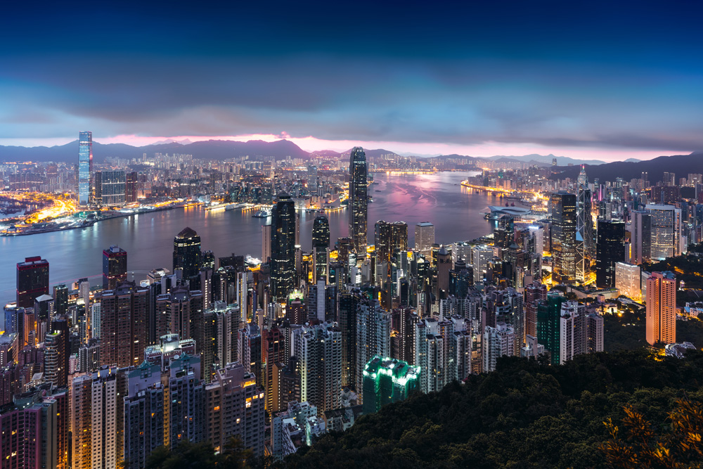 Hong Kong skyline view from Victoria Peak at sunrise, Hong Kong