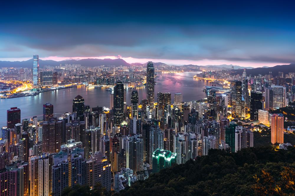Hong Kong skyline view from Victoria Peak at sunrise, Hong Kong