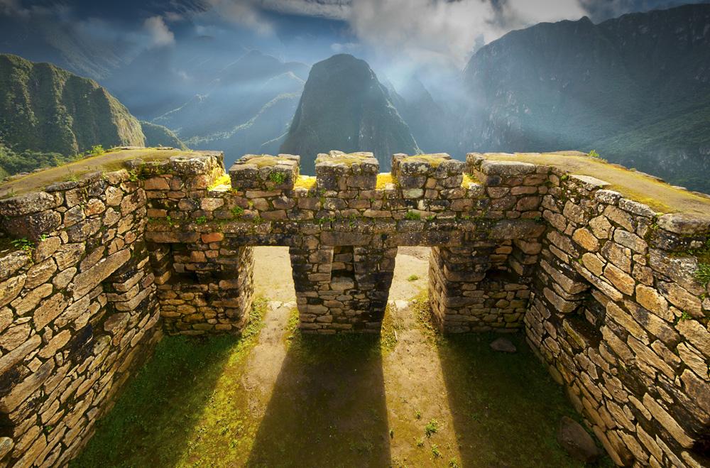Inca wall in Machu Picchu, Peru