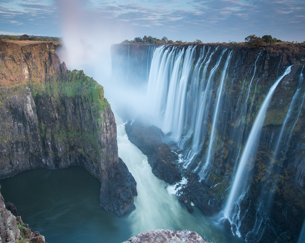Morning light at Victoria Falls from Zambia looking into Zimbabwe