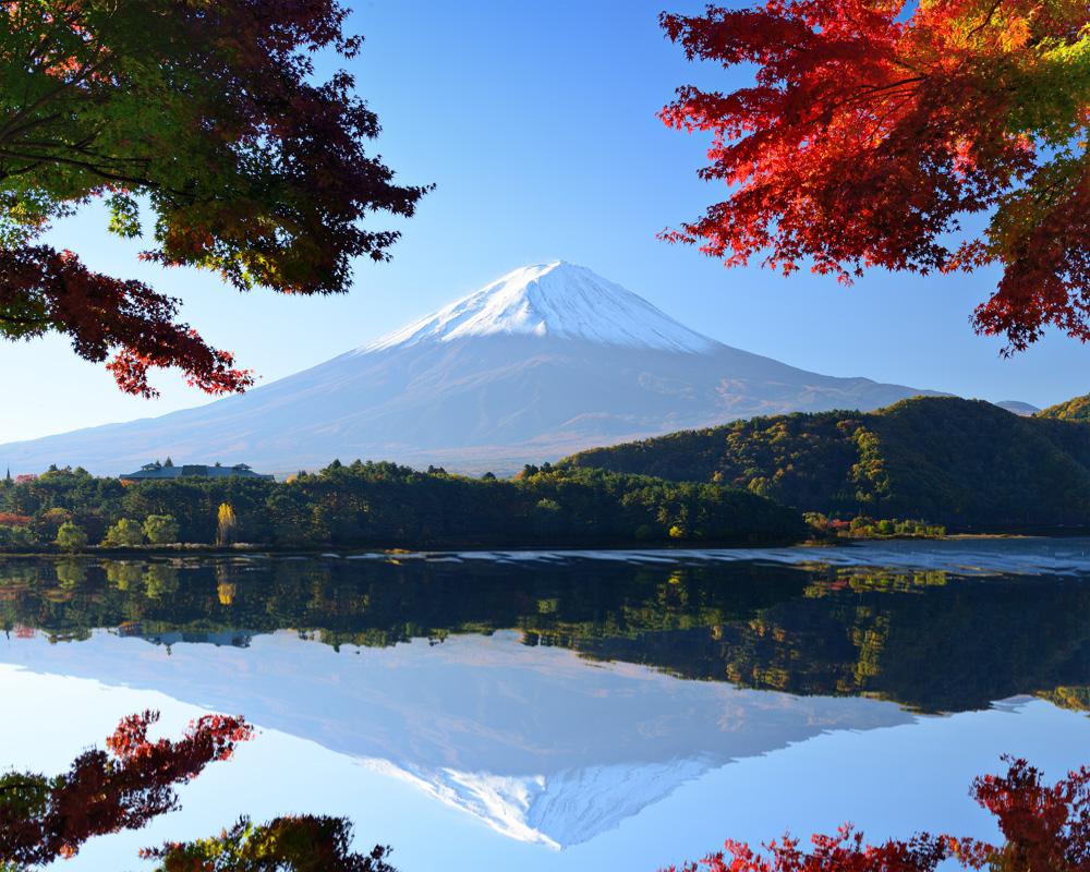 Mt. Fuji and autumn foliage at Lake Kawaguchiko, Japan