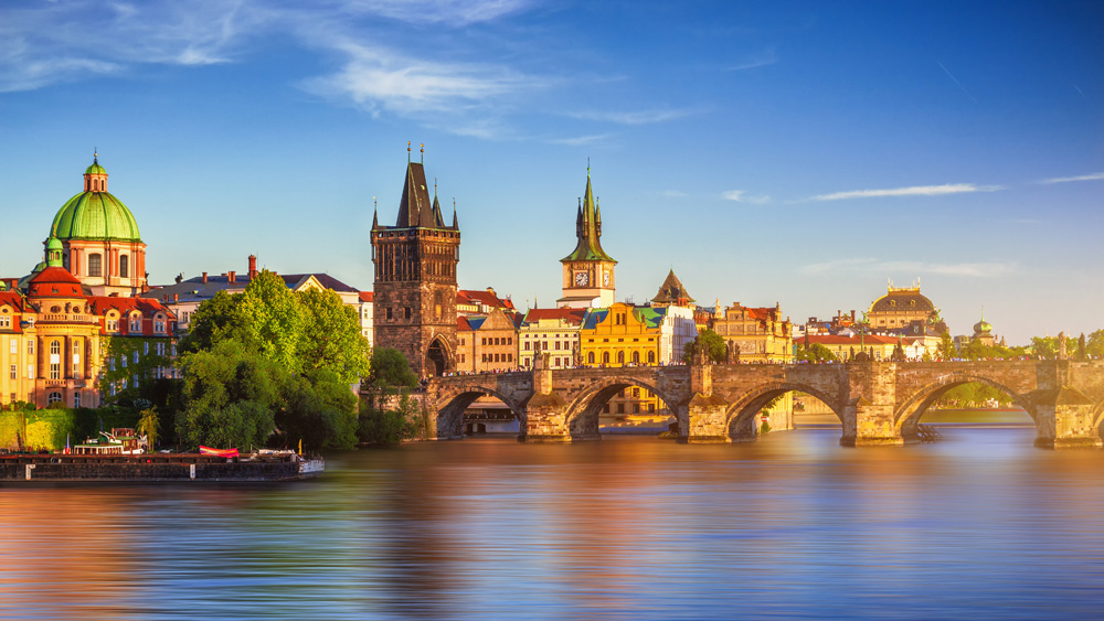 Old Town Bridge Tower and Charles Bridge over Vltava River in Prague, Czech Republic