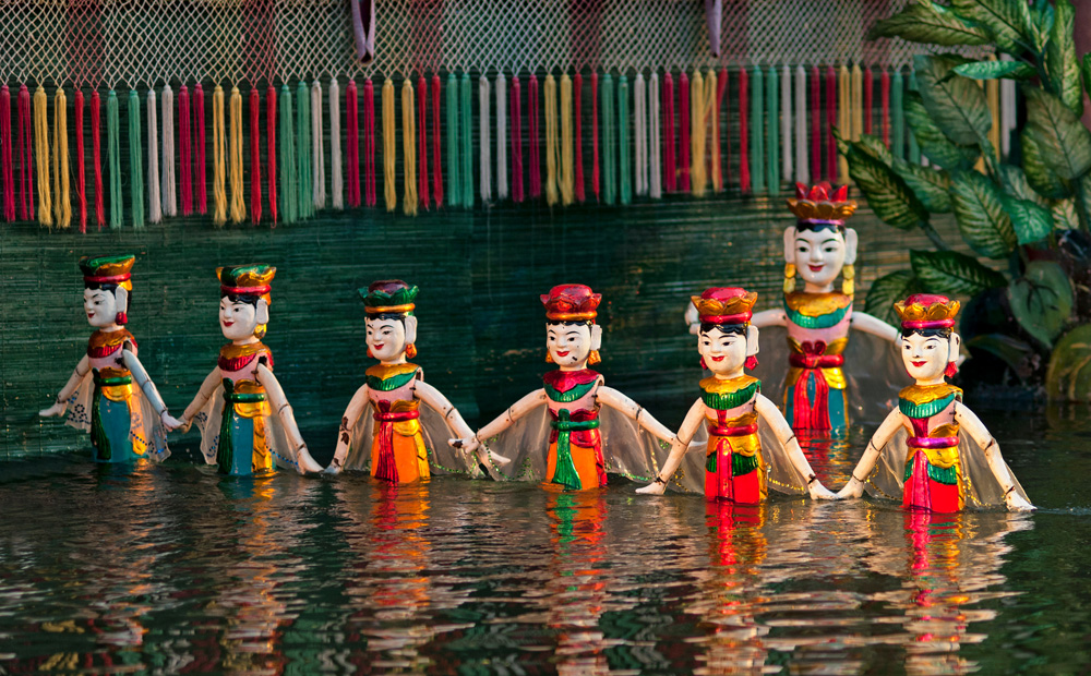Performance at Thang Long Water Puppet Theatre in Hanoi, Vietnam