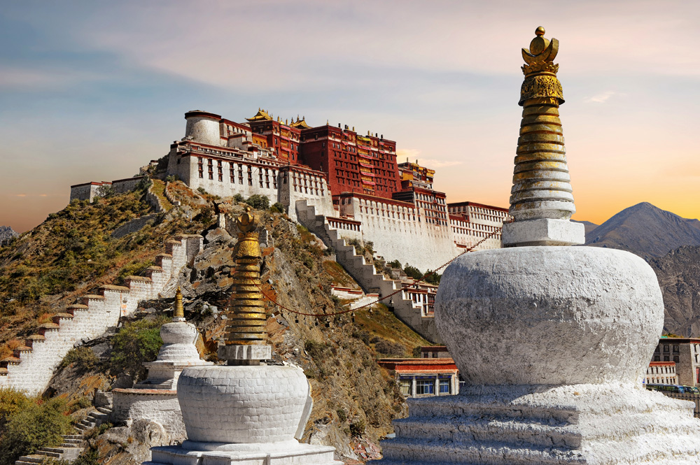 Potala Palace in Lhasa during sunset, Tibet