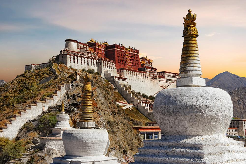 Potala Palace in Lhasa during sunset, Tibet