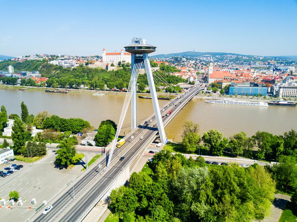 SNP New Bridge above Danube River in Bratislava, Slovakia