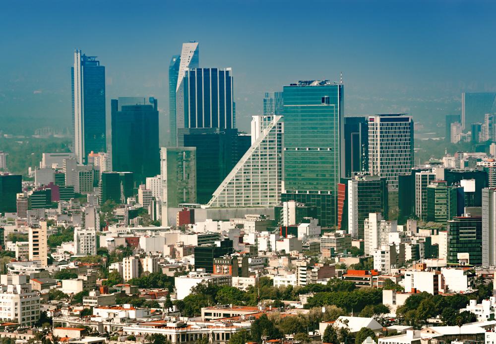 Skyline of Colonia Juarez neighborhood in Mexico City, Mexico