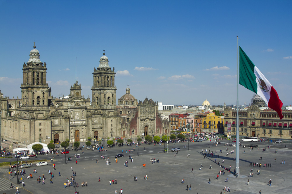 The Zocalo with Metropolitan Cathedral and National Palace, Mexico City, Mexico