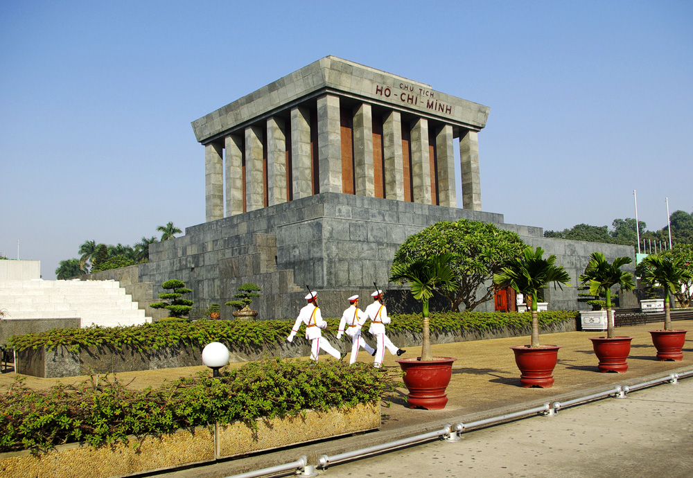 Three guards marching in front of Ho Chi Minh Mausoleum, Hanoi, Vietnam