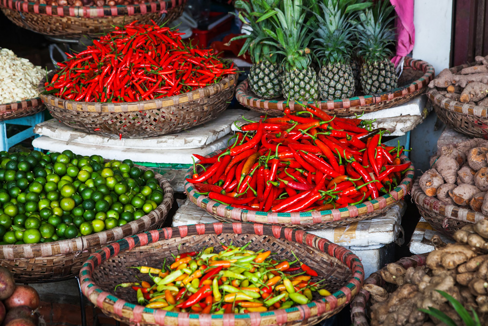 Tropical spices and fruits sold at Dong Xuan Market in Hanoi, Vietnam