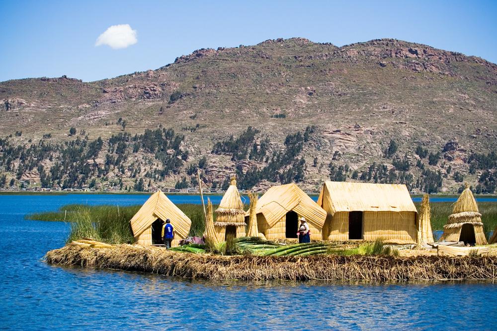 Uros floating island on Lake Titicaca, Peru