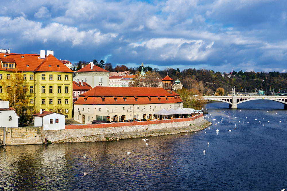 View of Franz Kafka Museum and Vltava River from Charles Bridge, Prague, Czech Republic