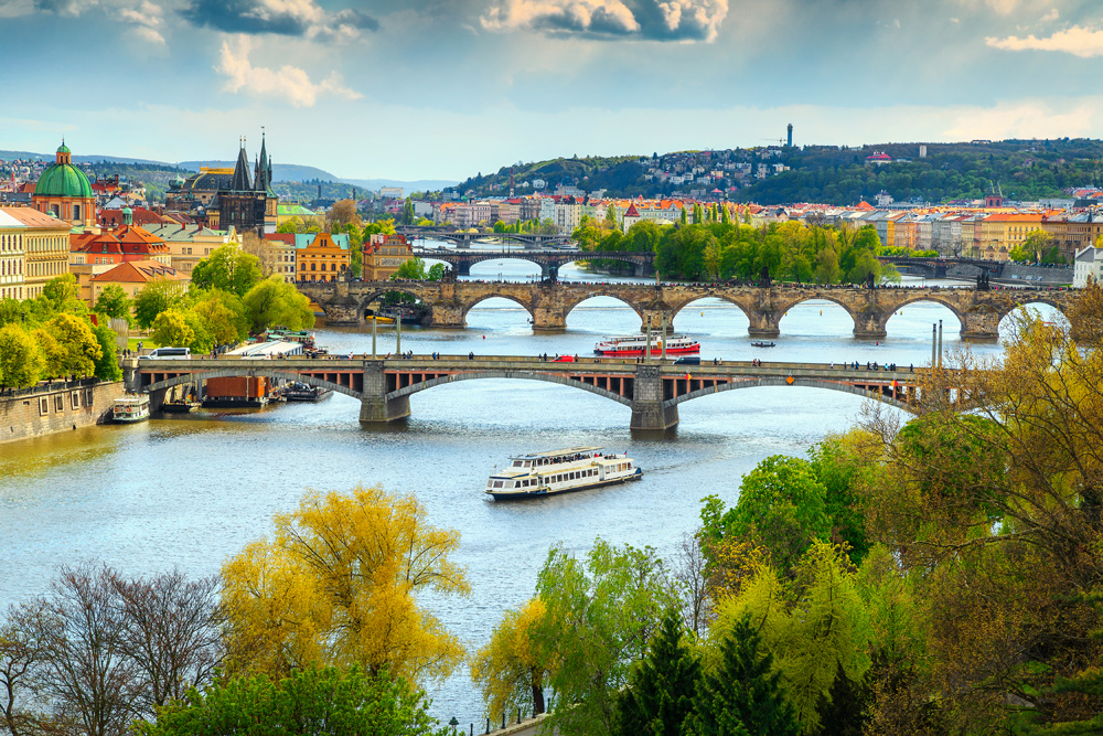 Vltava River and old city centre, Prague, Czech Republic