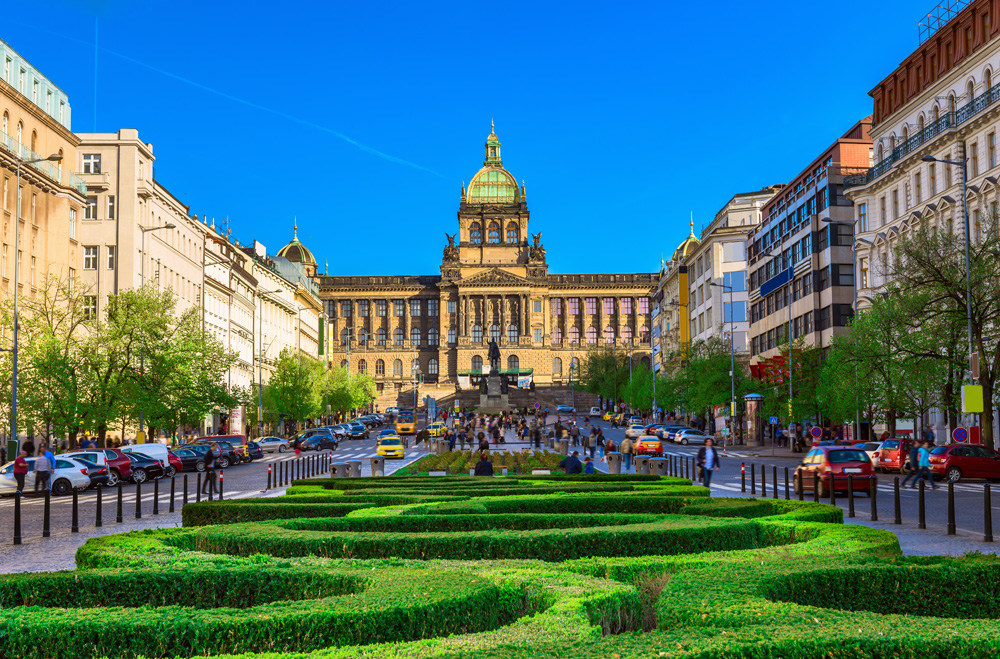 Wenceslas Square and National Museum in Prague, Czech Republic