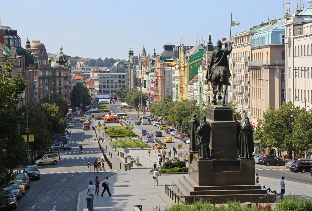 Wenceslas Square in Prague on a summer afternoon, Czech Republic