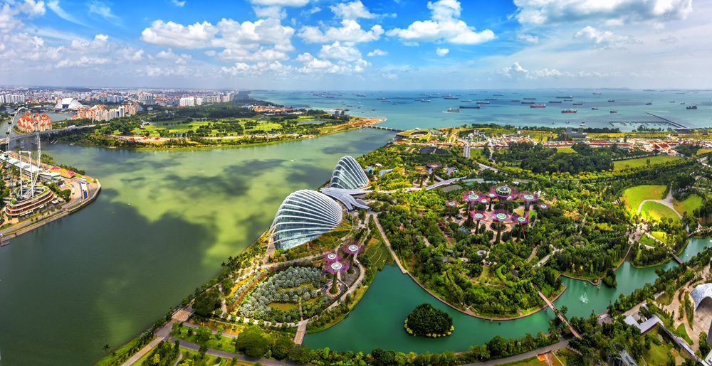 Aerial view of Gardens by the Bay and Singapore skyline