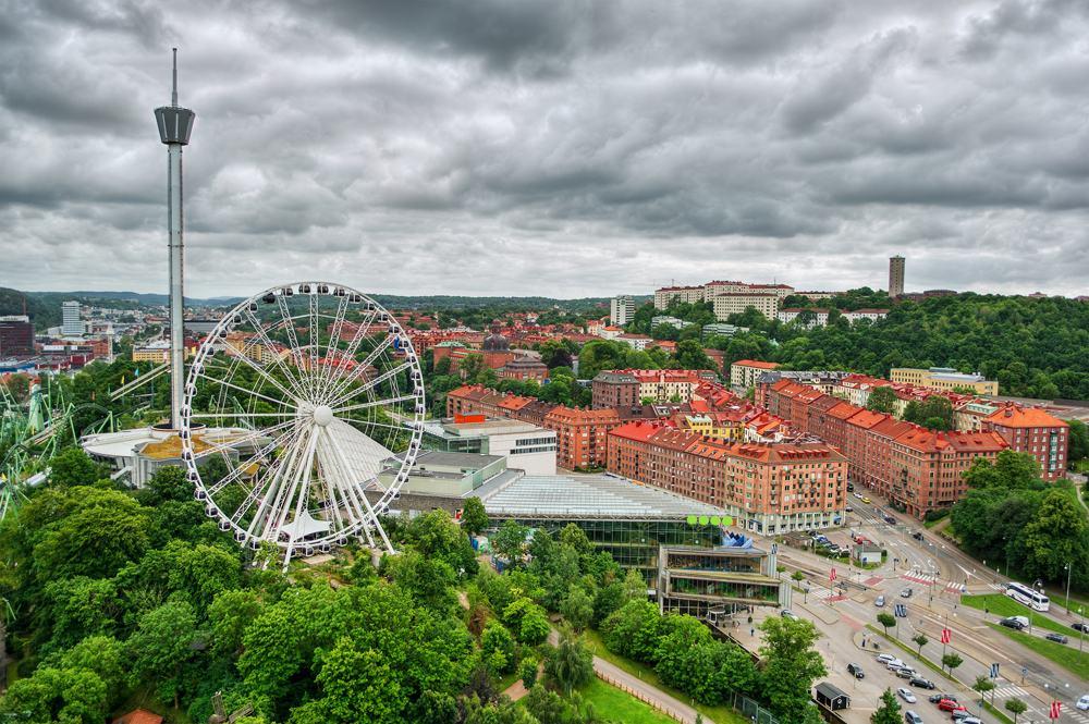 Aerial view of Liseberg Amusement Park in Gothenburg, Sweden