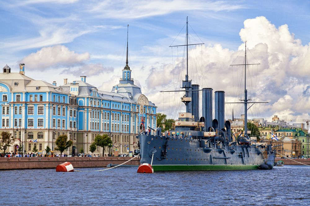 Aurora museum ship in St Petersburg, Russia