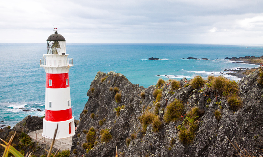 Beautiful lighthouse and coastline at Cape Palliser, North Island, New Zealand