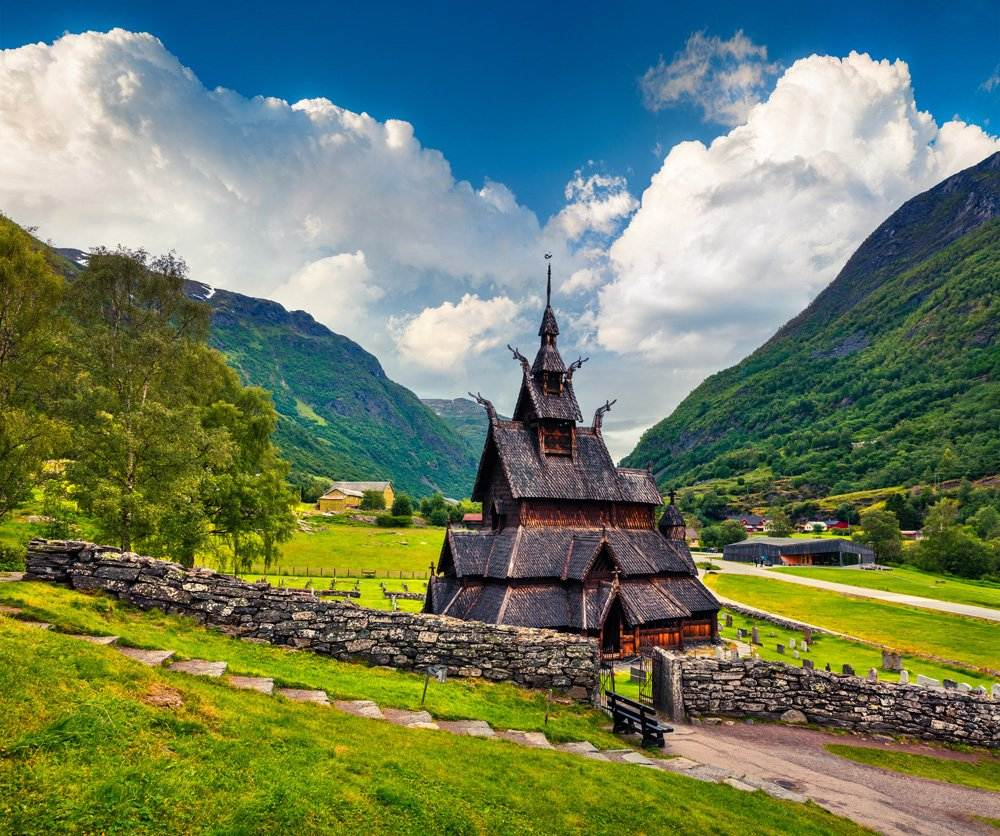 Borgund Stave Church, located in the village of Borgund, Norway