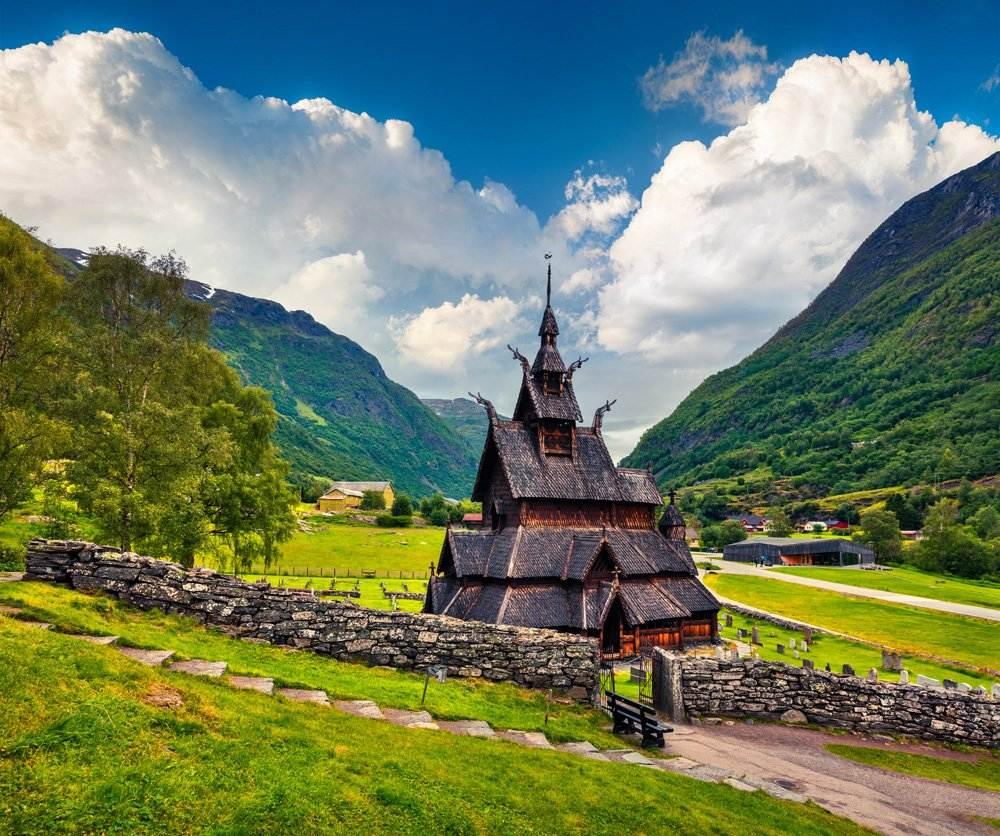 Borgund Stave Church, located in the village of Borgund, Norway