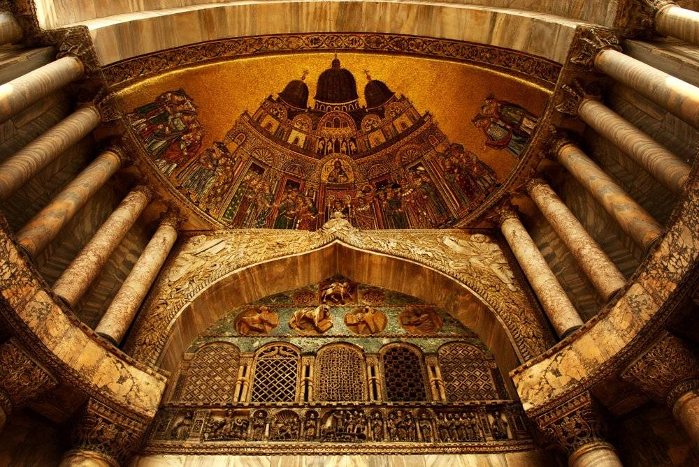 Byzantine mosaics and architecture seen in St. Mark's Basilica's interior, Venice, Italy