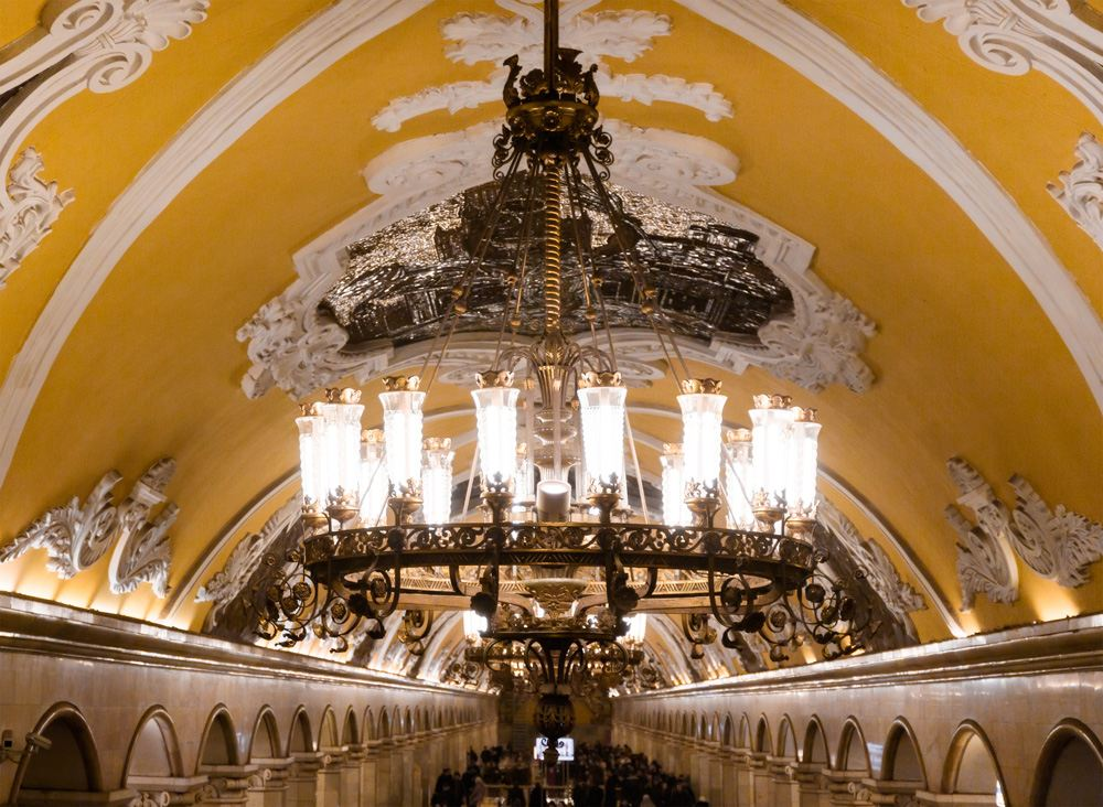 Chandelier in the hall of Komsomolskaya subway in Moscow, Russia