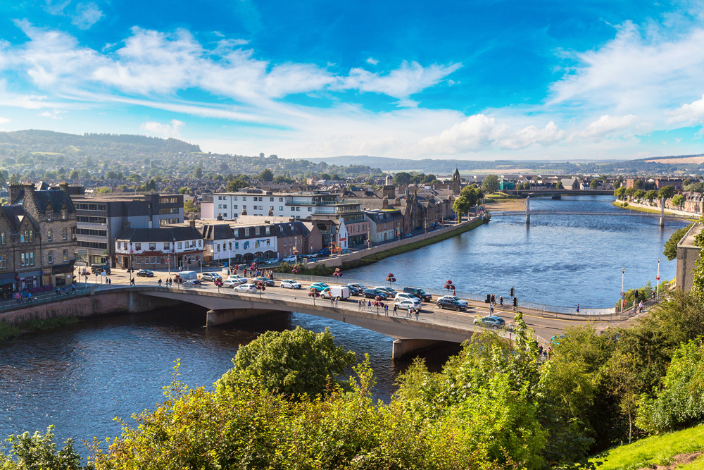Cityscape of Inverness on a beautiful summer day, Scotland, UK (United Kingdom)