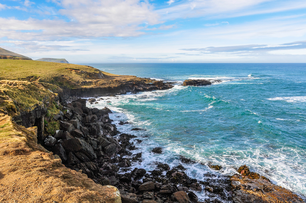 Coastal landscape near Slope Point in Catlins, the southernmost point of New Zealand