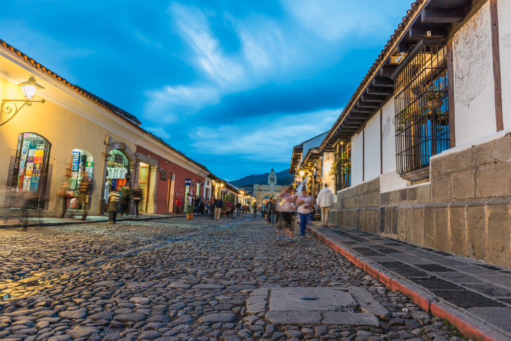 Cobblestone streets of Antigua Guatemala at twilight, Guatemala