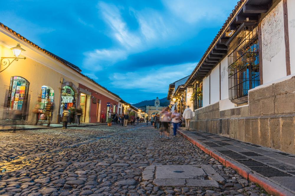 Cobblestone streets of Antigua Guatemala at twilight, Guatemala