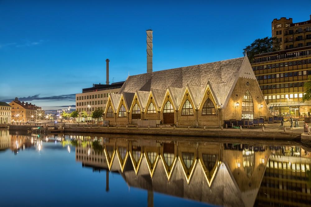 Feskekorka (Fish Church) indoor fish market in Gothenburg, Sweden