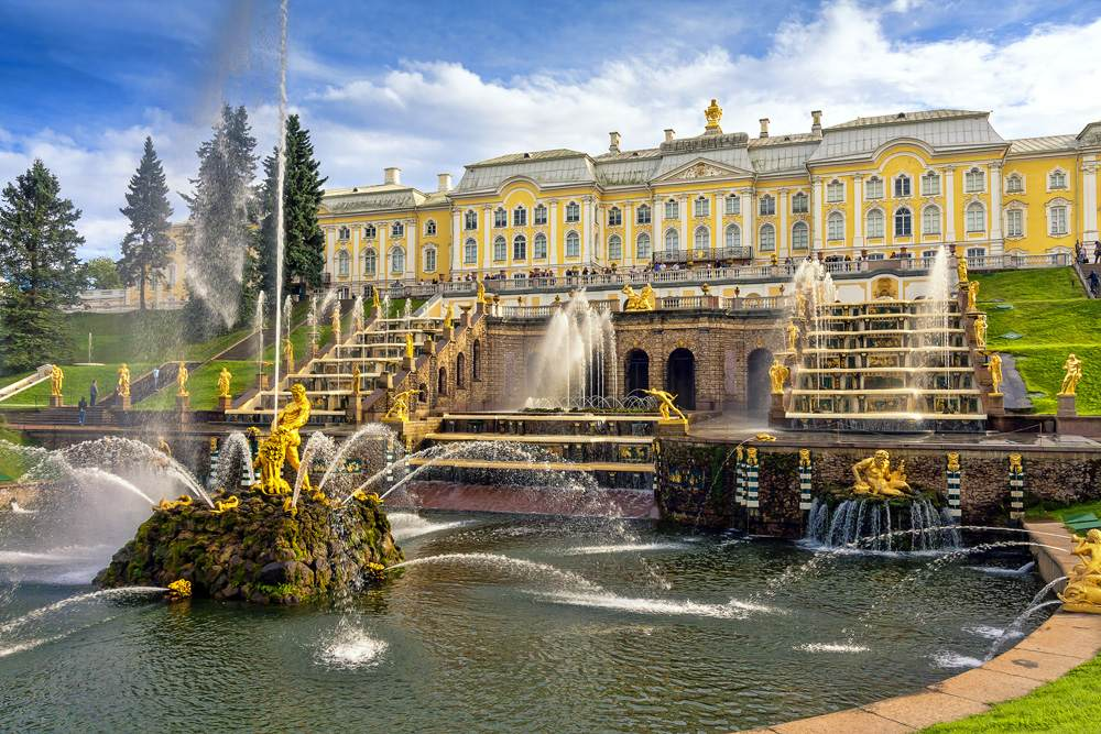 Grand cascade in Perterhof, St Petersburg, Russia