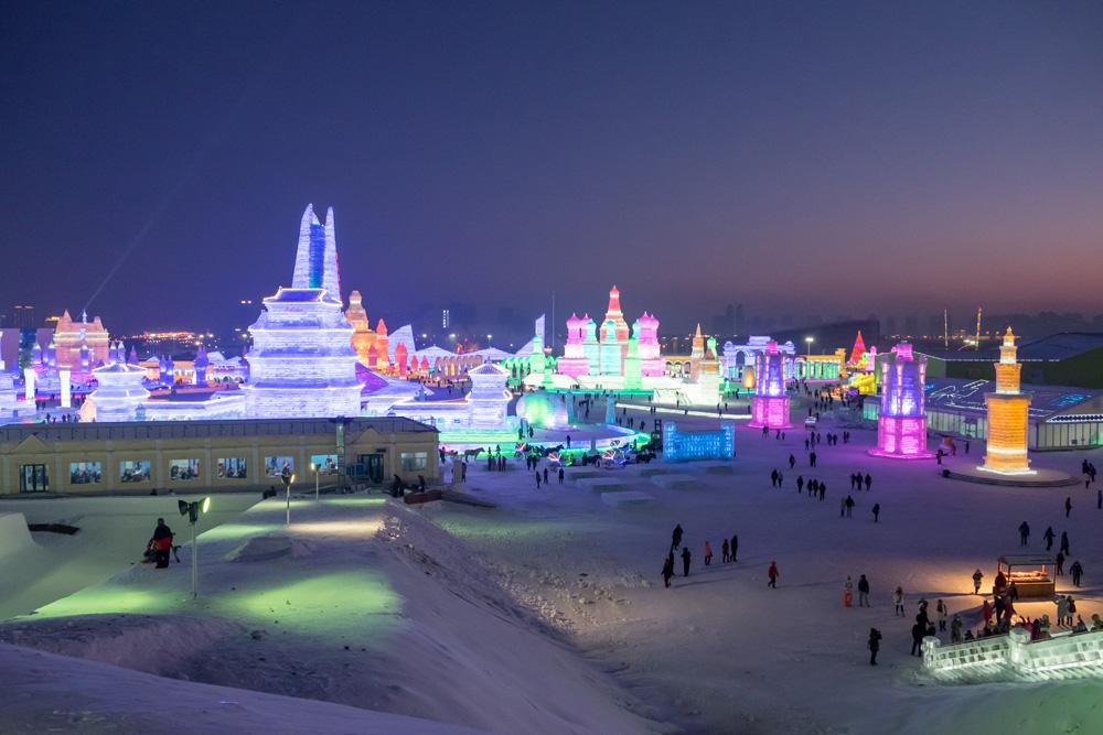 Ice and Snow Festival at night, Harbin, China