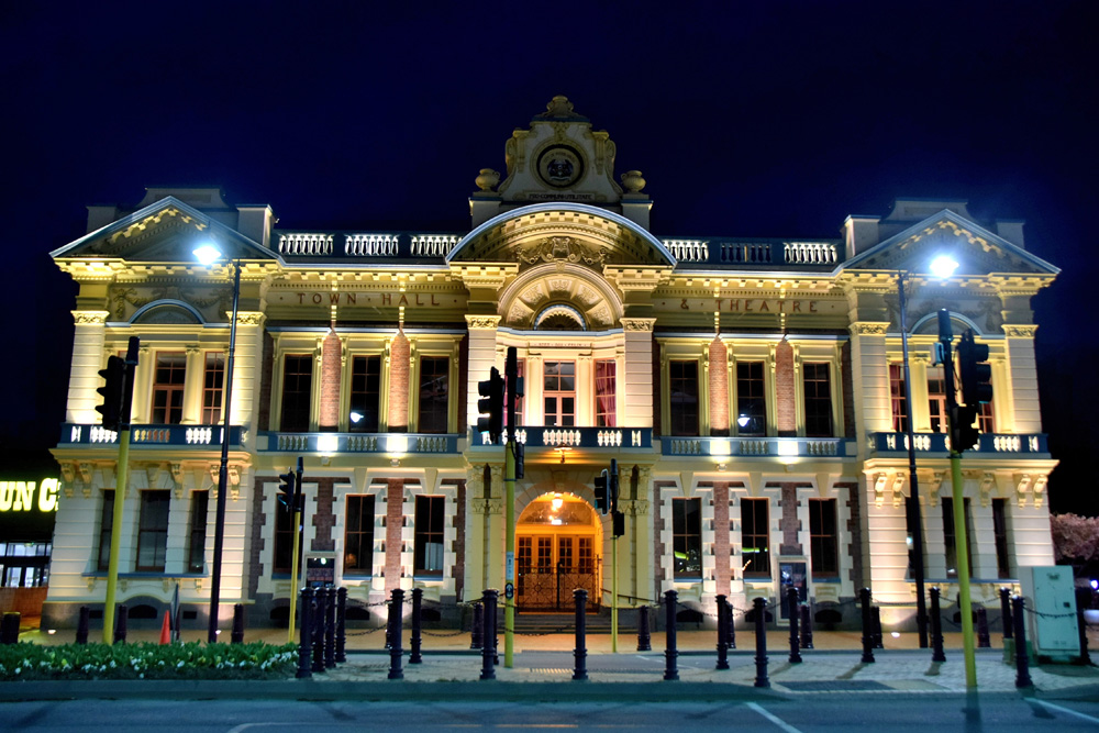 Invercargill City Hall and Theatre at night, New Zealand