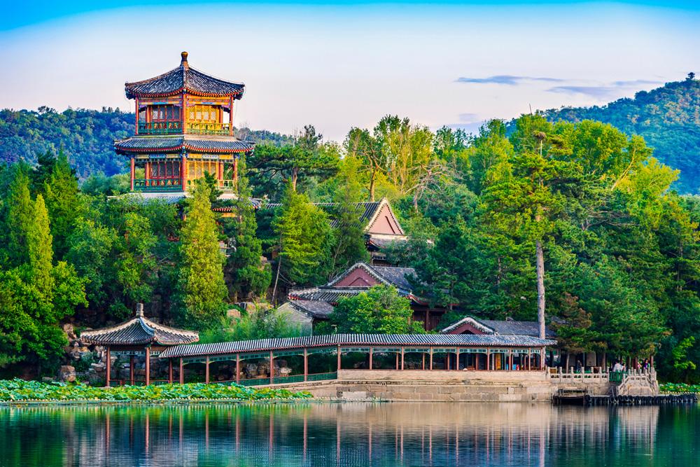 Jinshan Tower (Little Golden Mountain). Located in Chengde Mountain Resort, Chengde, China